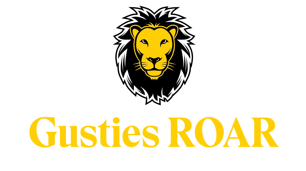 Gus the Lion with Roar Text