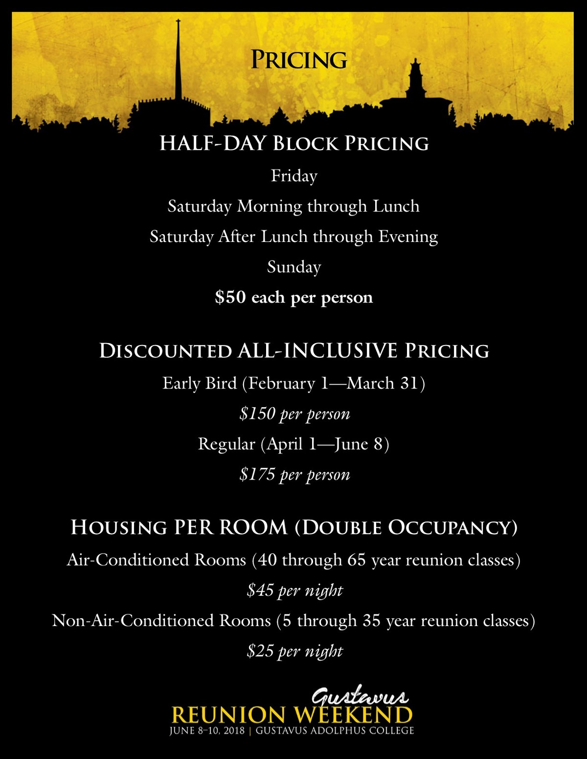 Reunion Weekend Schedule and Pricing Overview1