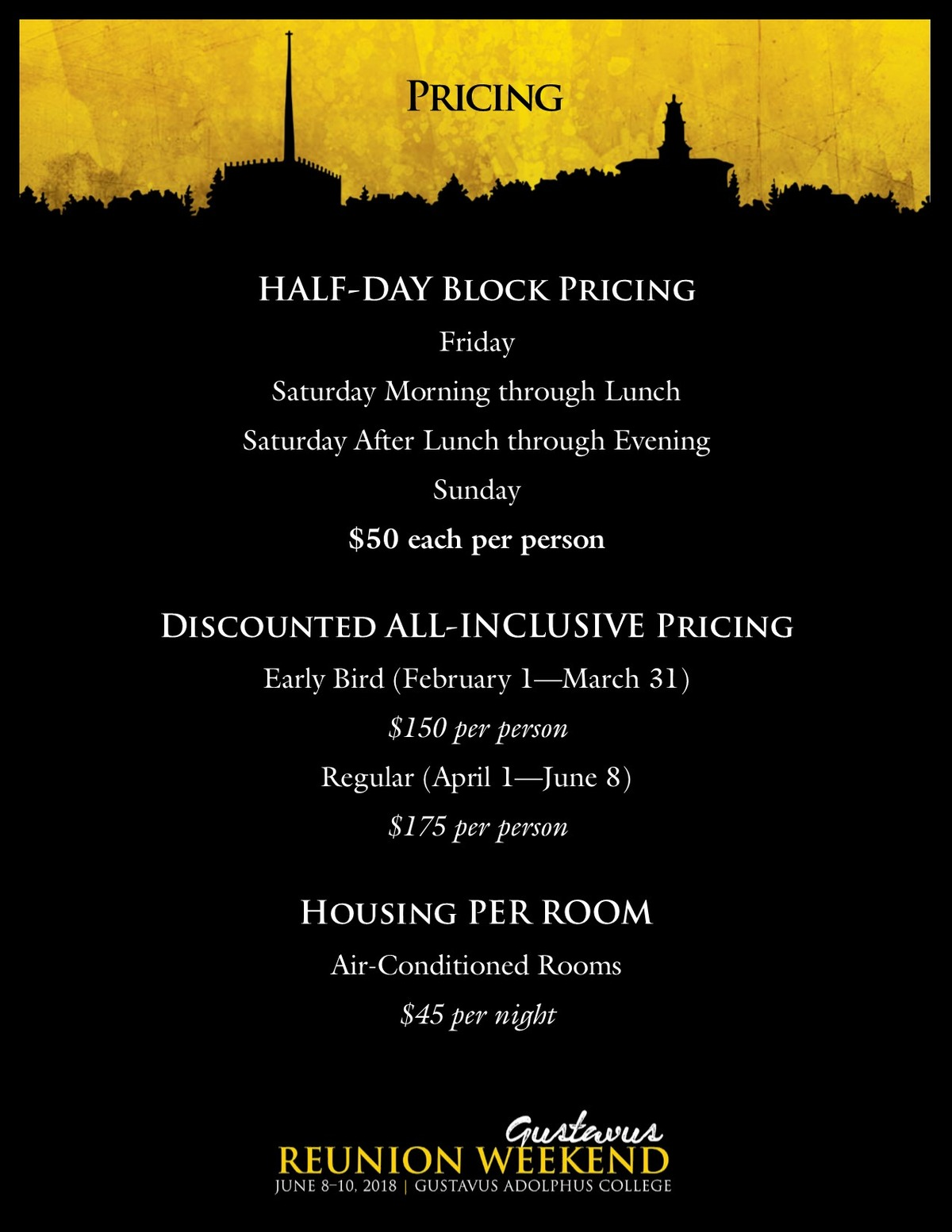 Class specific Reunion Weekend pricing information