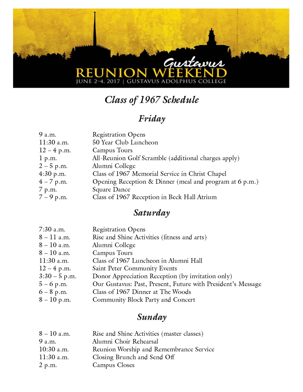 Class of 1967 Reunion Weekend Schedule
