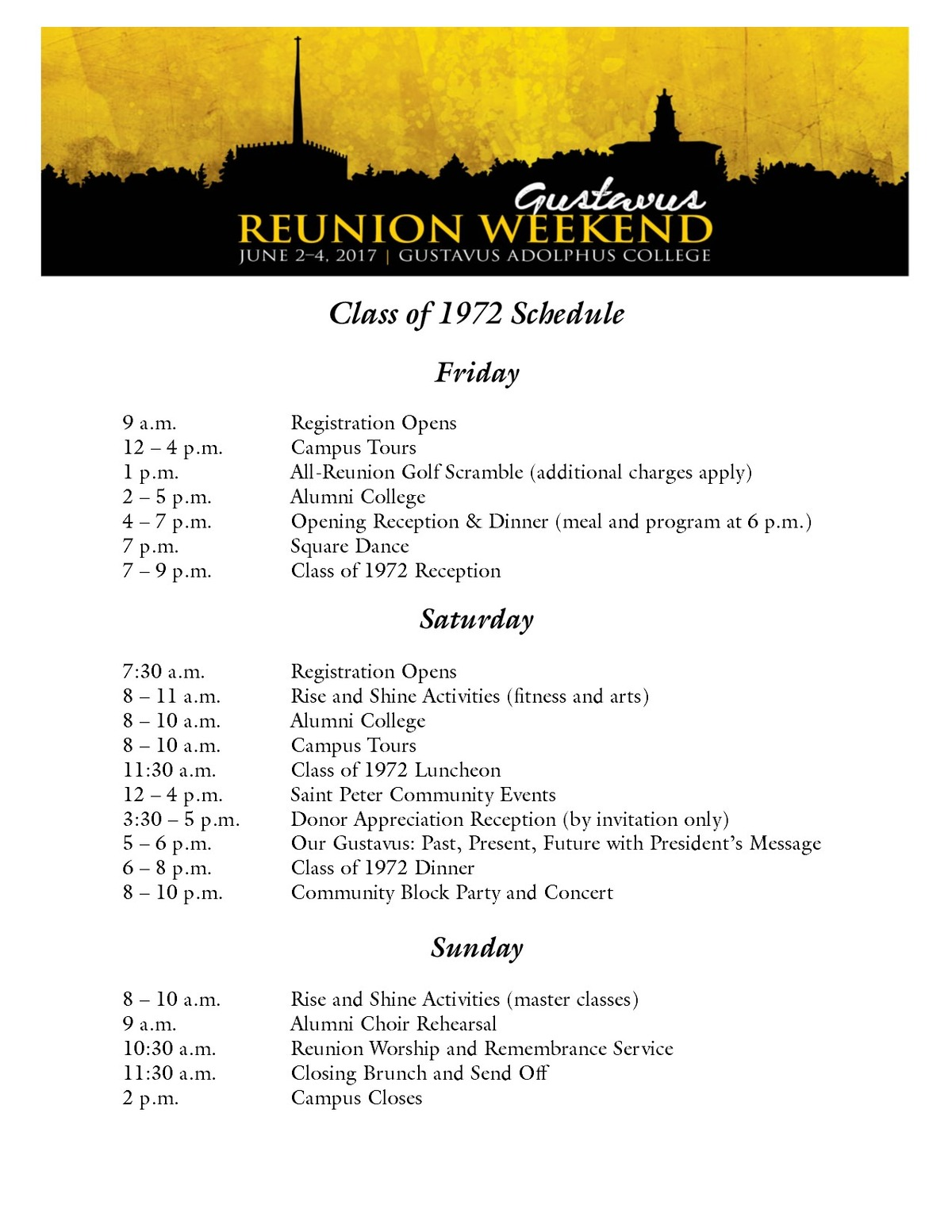 Class of 1972Reunion Weekend Schedule