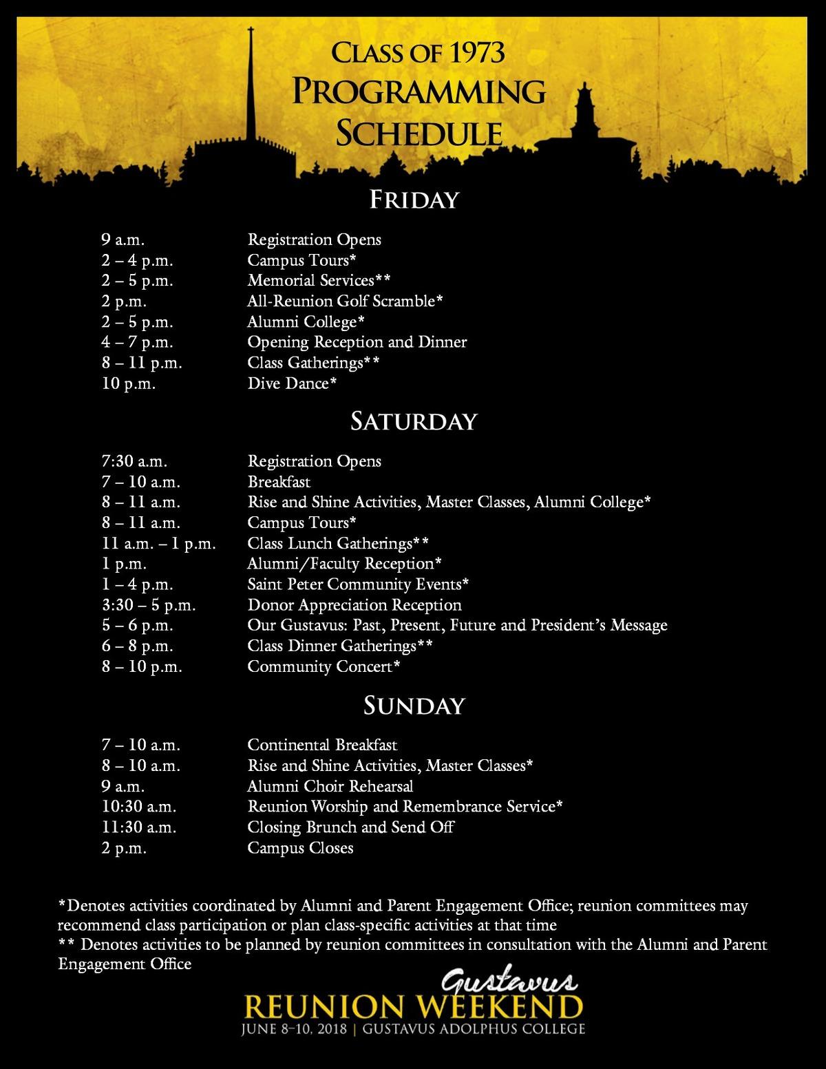 Class specific Reunion Weekend schedule