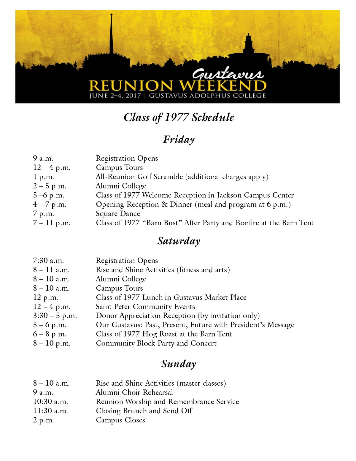 Class of 1977 Reunion Weekend Schedule