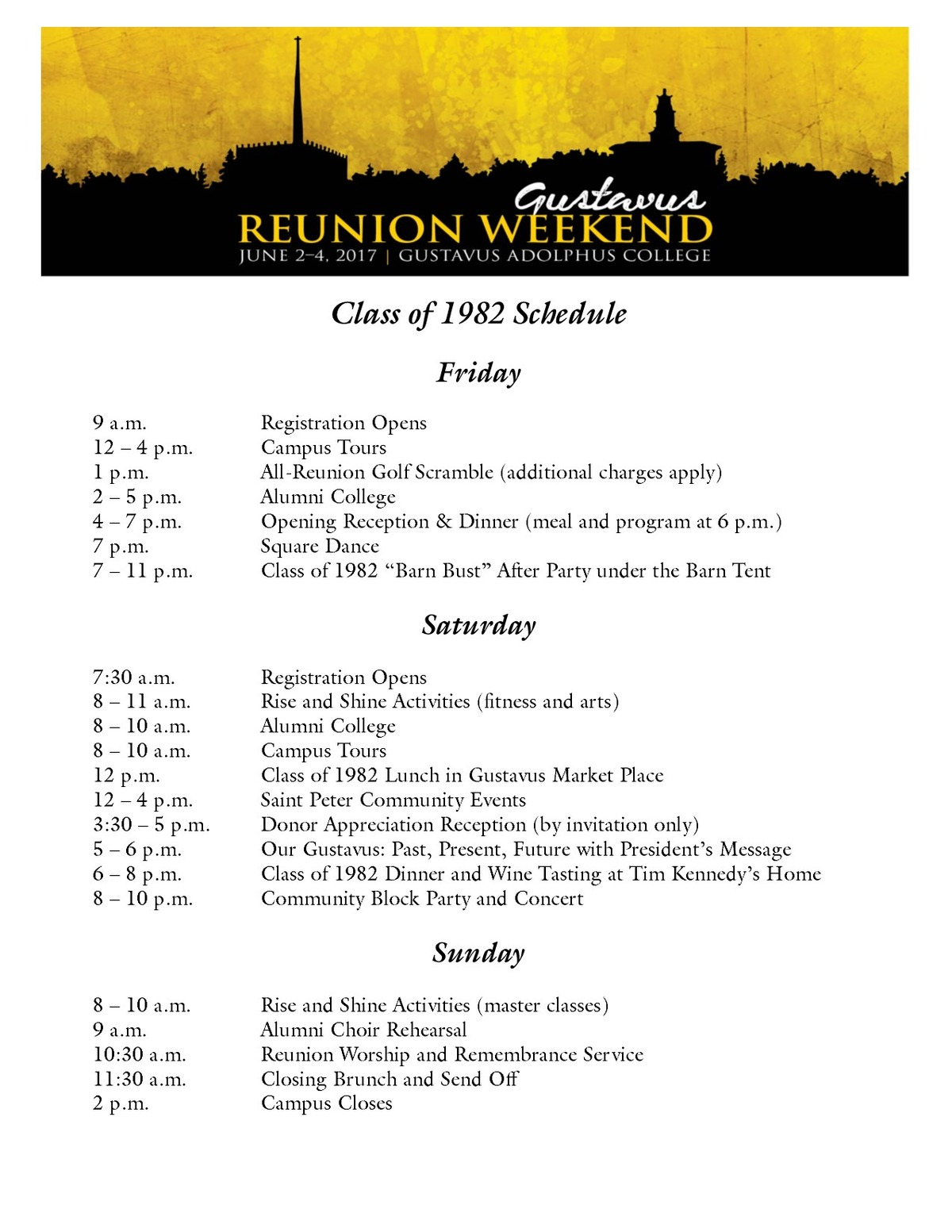 Class of 1982 Reunion Weekend Schedule