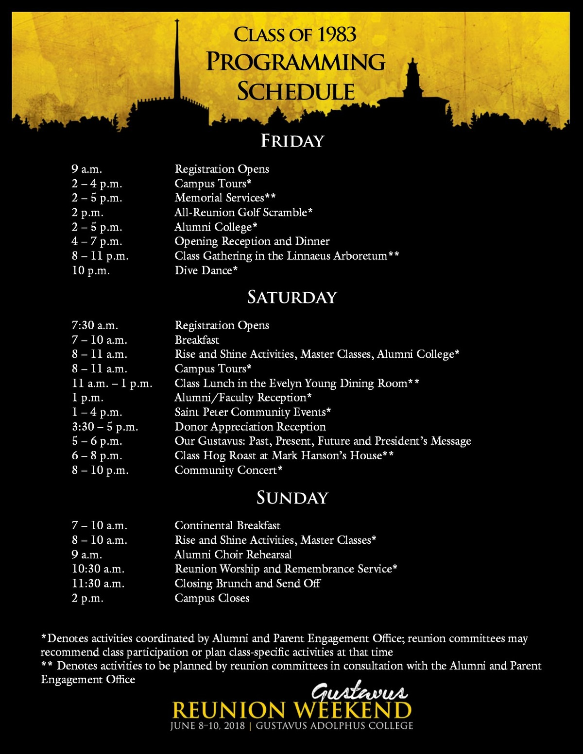 Class specific Reunion Weekend schedule