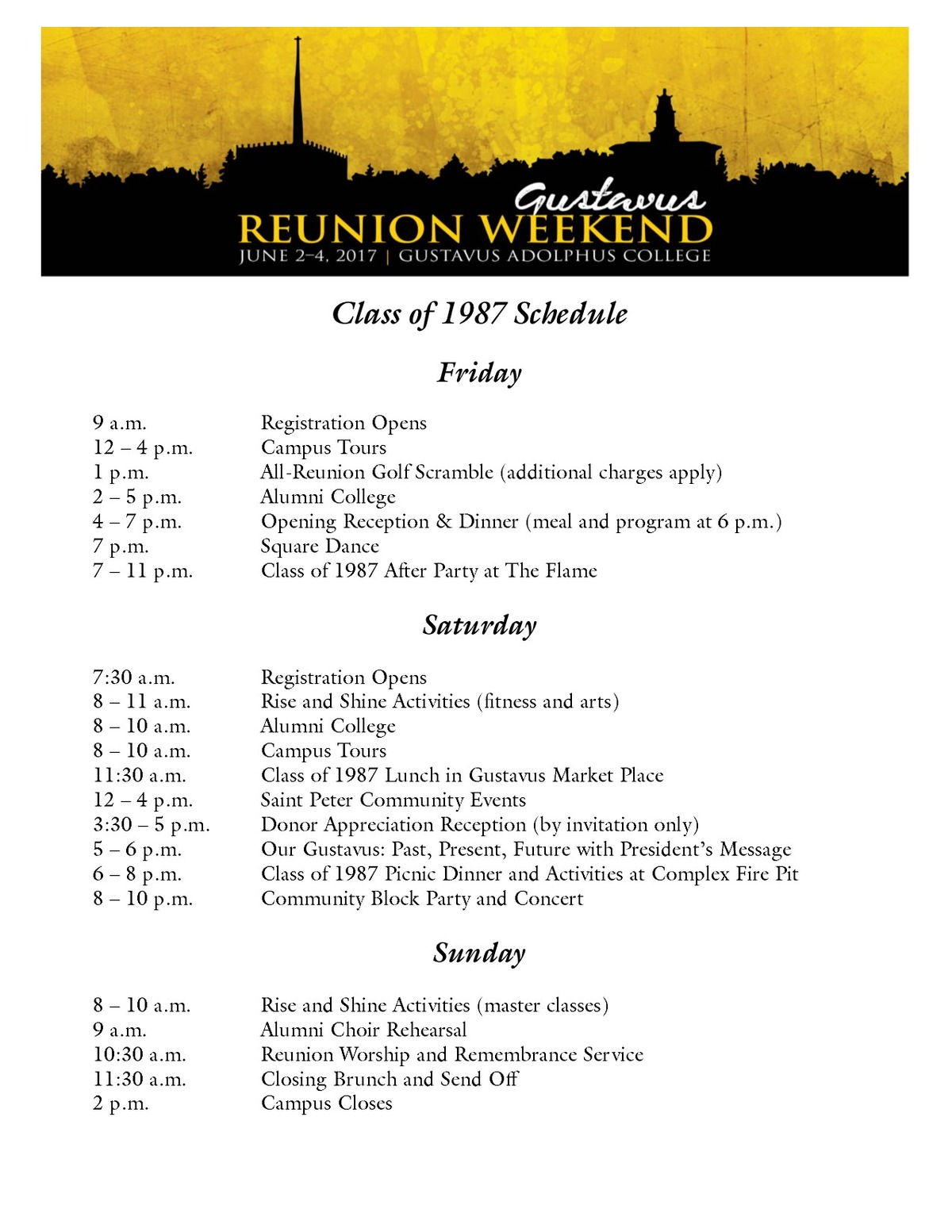 Class of 1987 Reunion Weekend Schedule