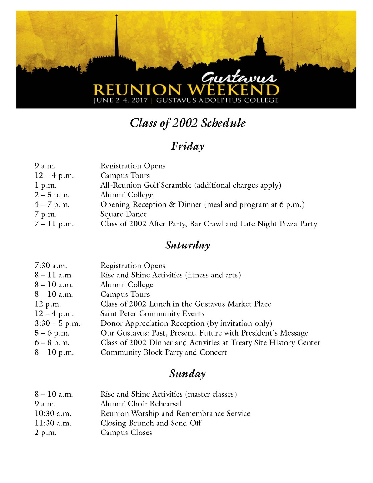 Class of 2002 Reunion Weekend Schedule