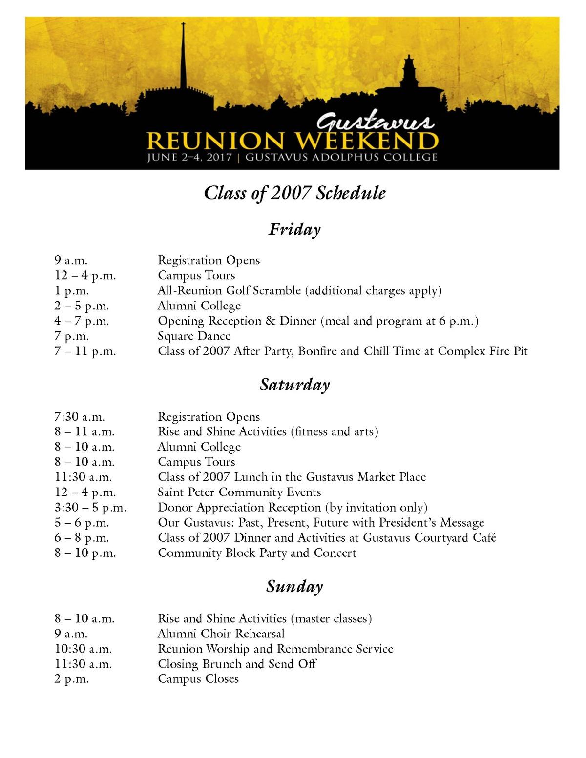 Class of 2007 Reunion Weekend Schedule