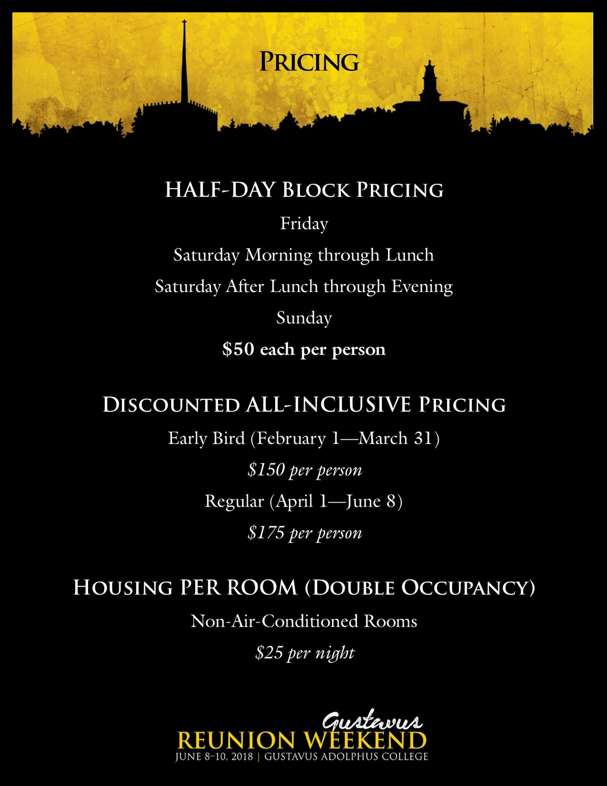 Class specific Reunion Weekend pricing