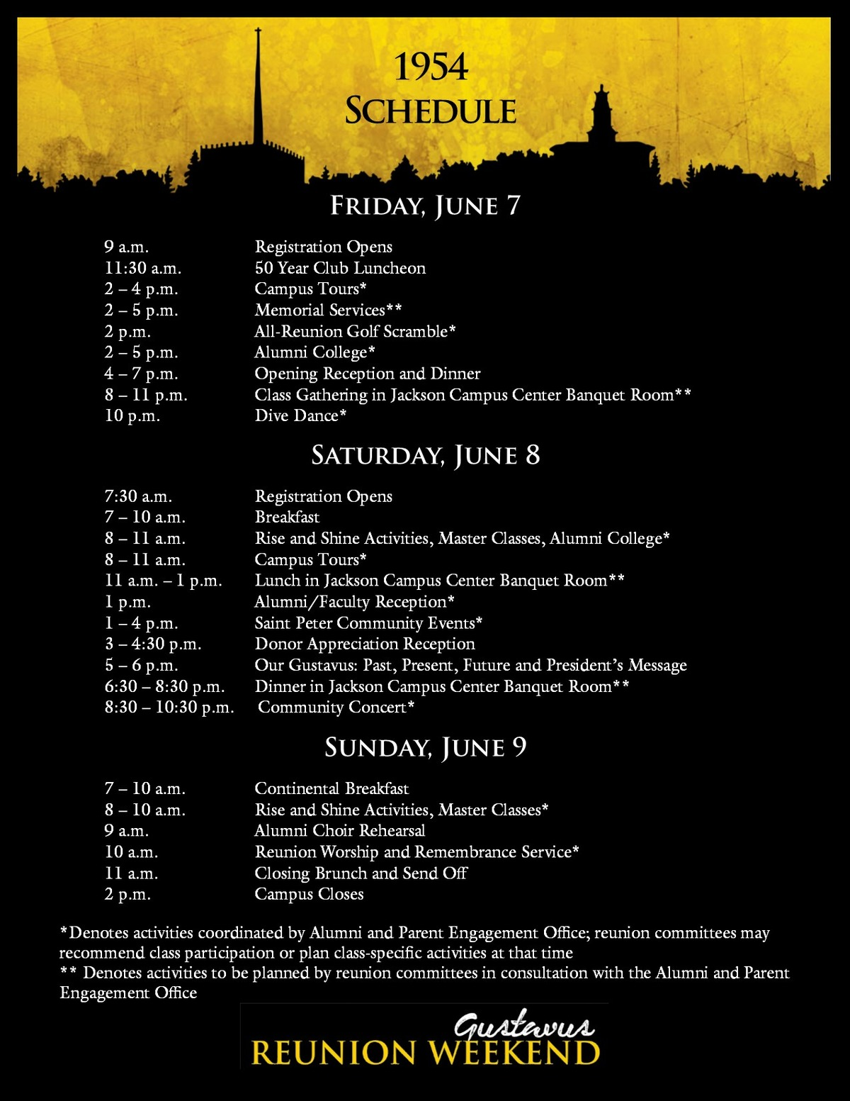 Class of 1954 Reunion Weekend Schedule
