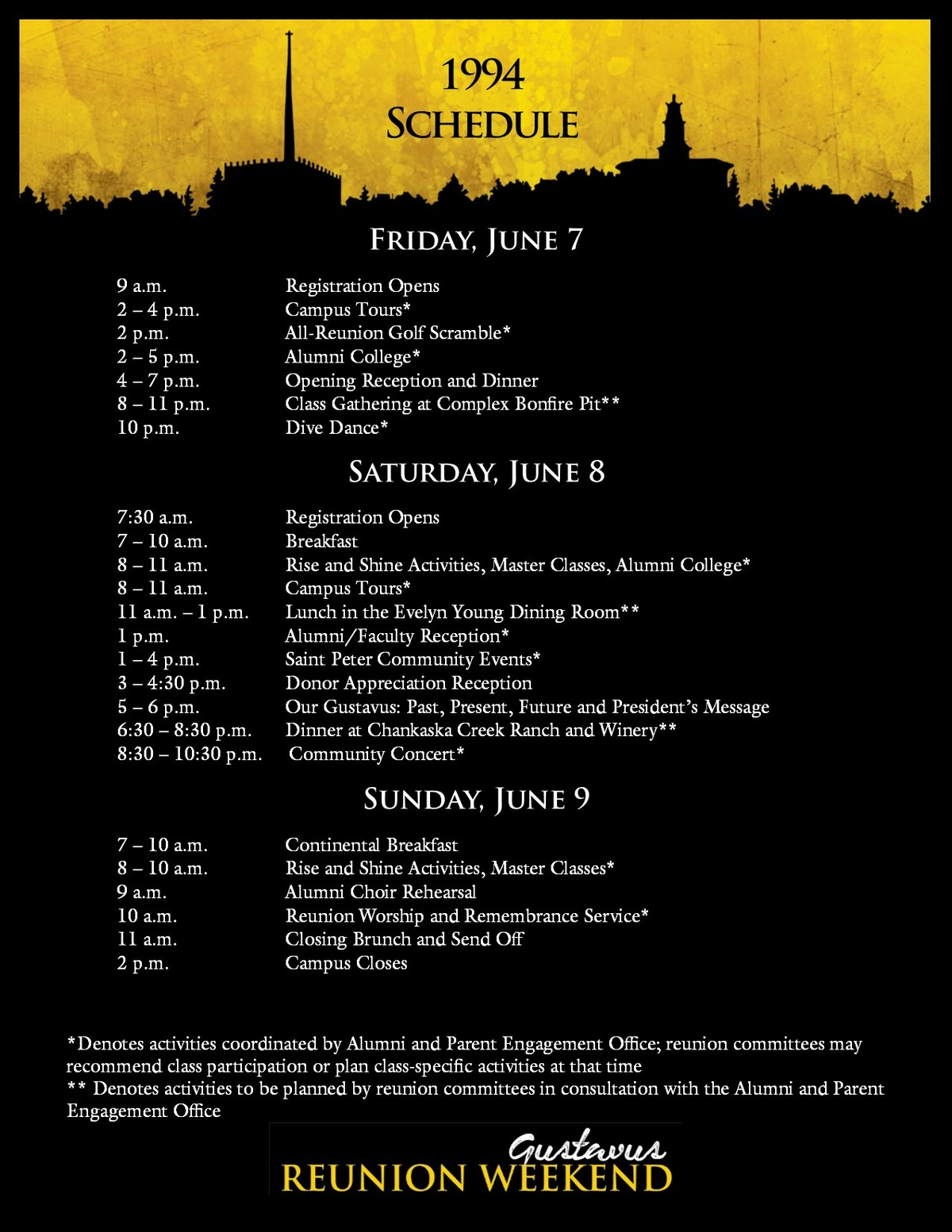 Class of 1994 Reunion Weekend Schedule 2019