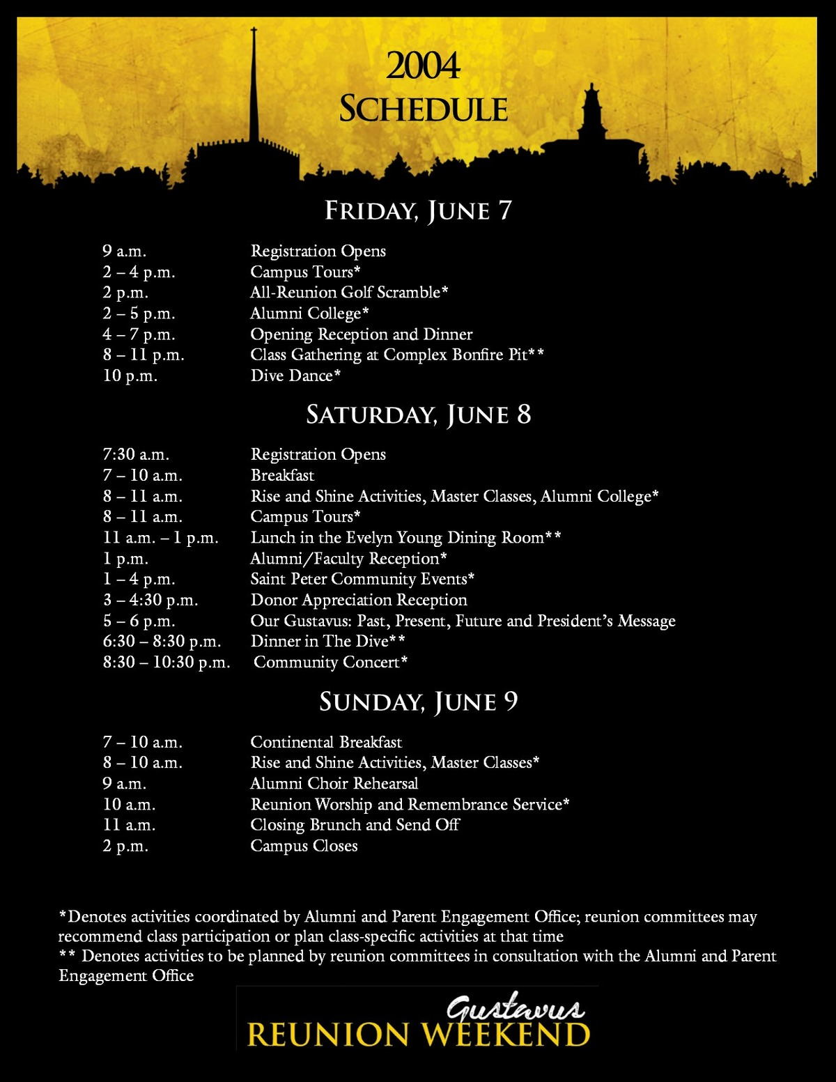 Class of 2004 Reunion Weekend Schedule 2019