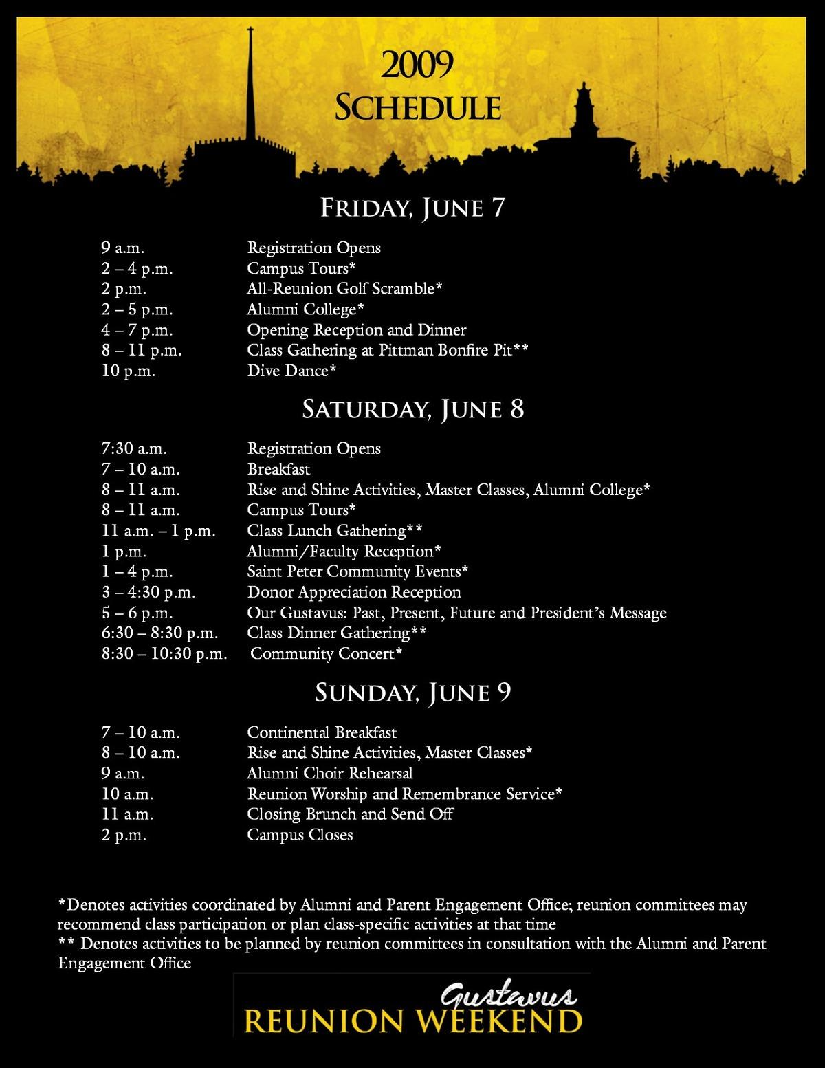 Class of 2009 Reunion Weekend Schedule 2019