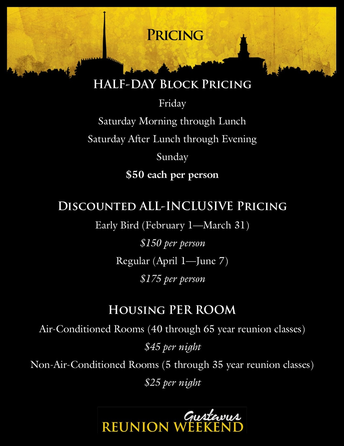 Reunion Weekend 2019 Pricing Overview