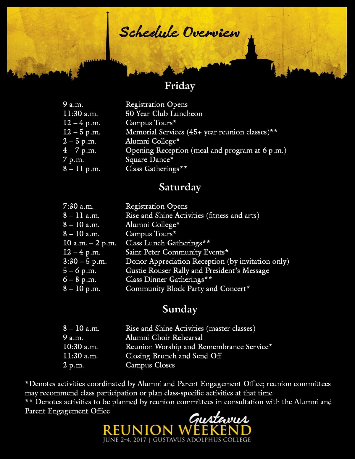 Reunion Weekend 2017 Tentative Schedule