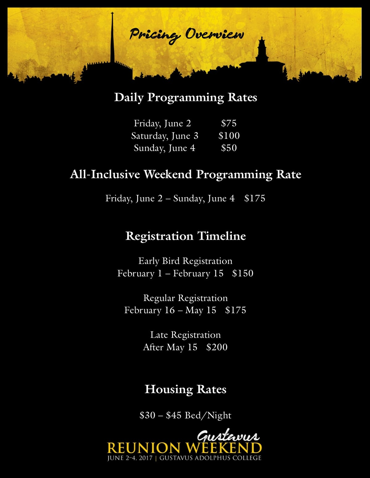 Reunion Weekend 2017 Pricing Overview