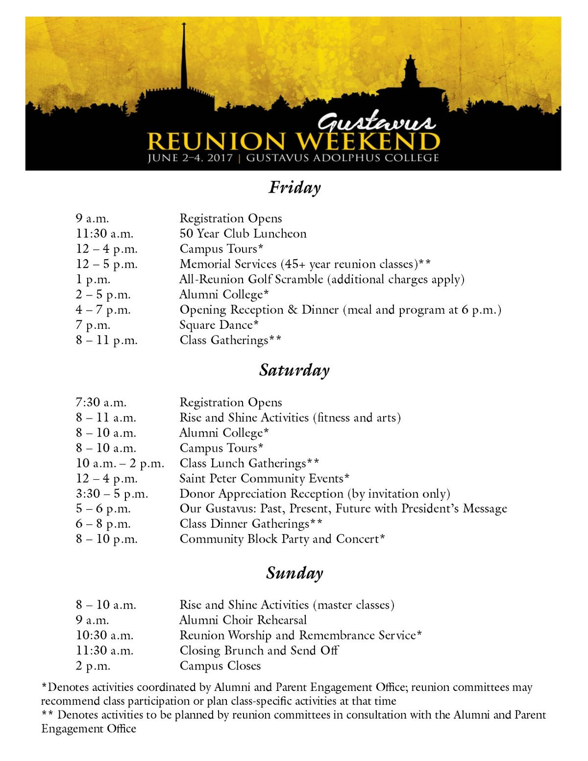 Reunion Weekend 2017 Schedule