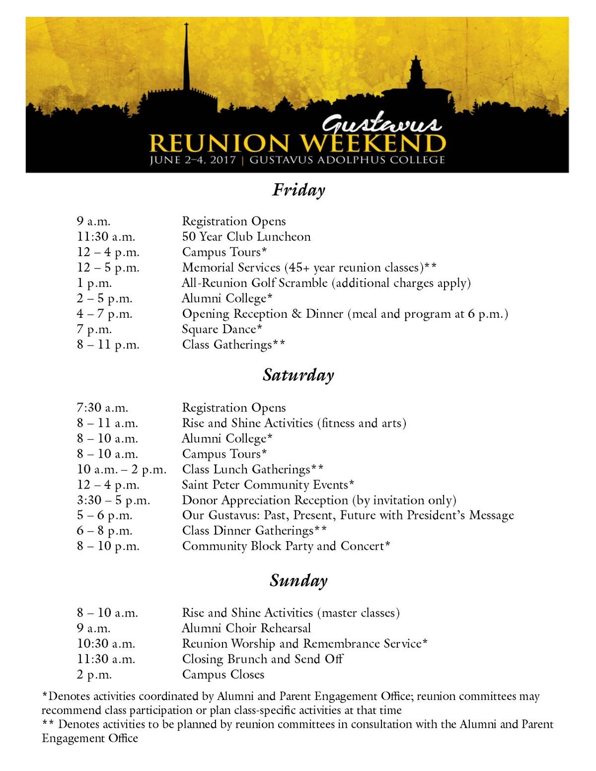 Reunion Weekend 2017 Schedule