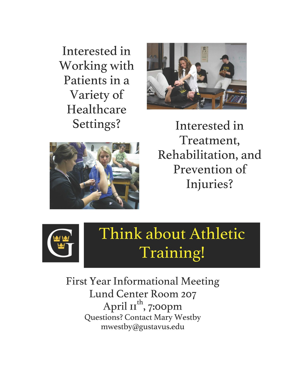 Athletic training welcome health exercise science first year informational meeting flyer the gustavus adolphus college athletic training 1betcityfo Choice Image