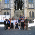 With Christ College Faculty at J.S.Bach Statue in Leipzig, Germany