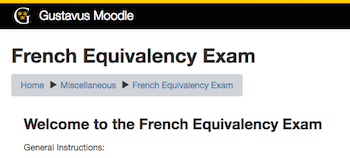 Partial Screenshot of the French Equivalency Exam