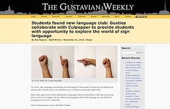 Gustavus Weekly Article Screenshot