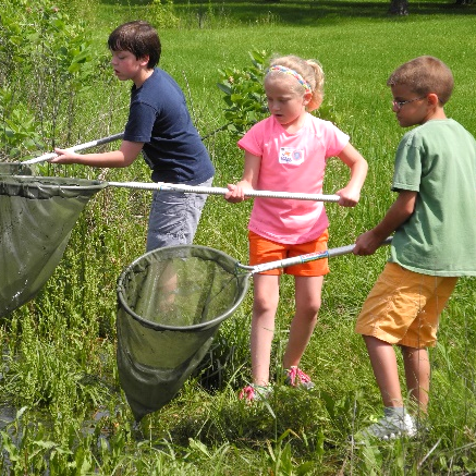 Children using nets by a pond