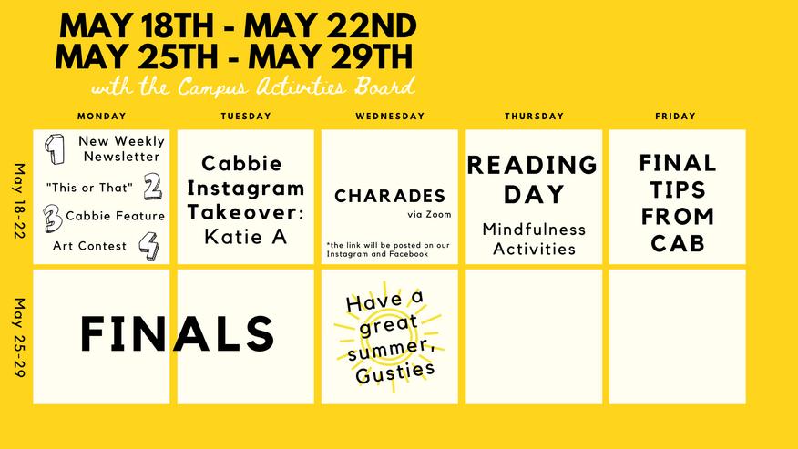 COVID-19 Calendar for 05/18-05/29