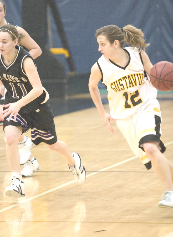 Jess Vadnais brings the ball upcourt for the Gusties