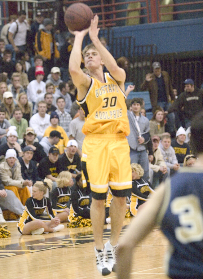 Olson launches a three against Bethel on Monday night.