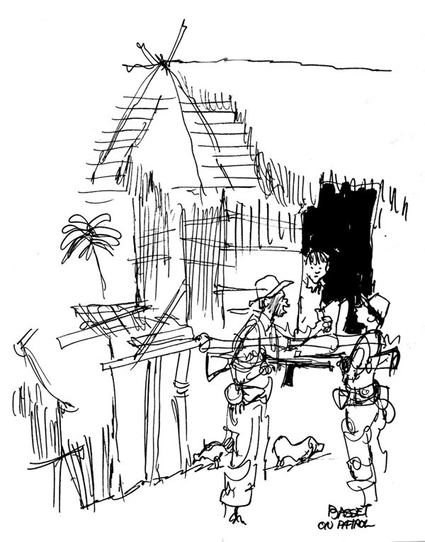 Gene Basset (b. 1927), <i>Tell Him to Get Out Before We Torch the Place</i>, 1965, ink on paper, 91/8 x 71/4 inches.
