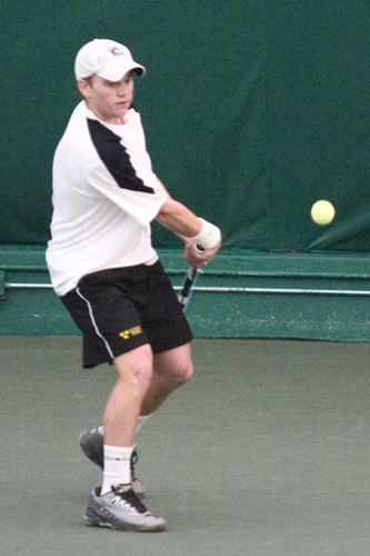 Adam Morgan concentrates on a backhand return.