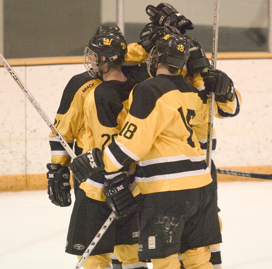 The Gusties celebrate one of their six goals on Saturday night.