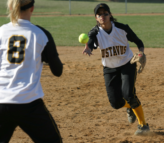 Jennifer Knutson gets a force out at first base during the 2004 season.