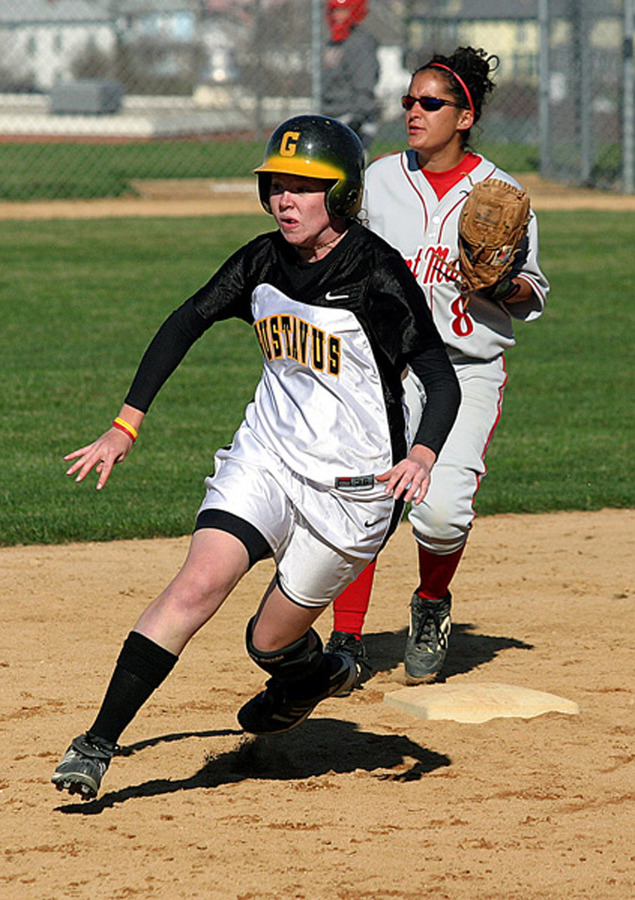 Meghan Powers rounds second base.