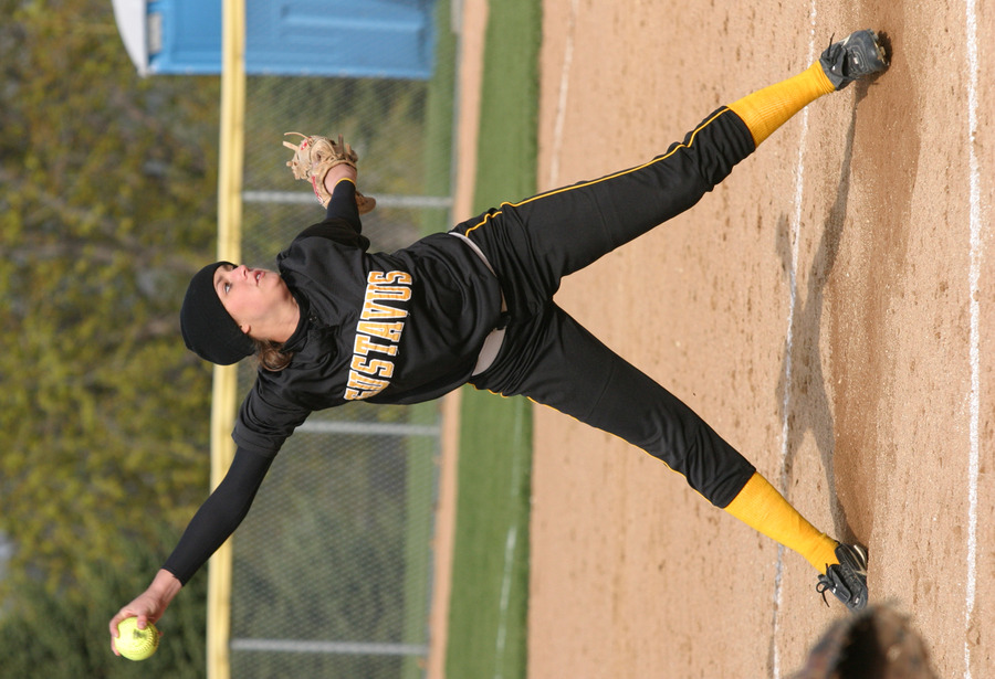 Jenna Ruhl pitched the seventh inning of game one for the Gusties.