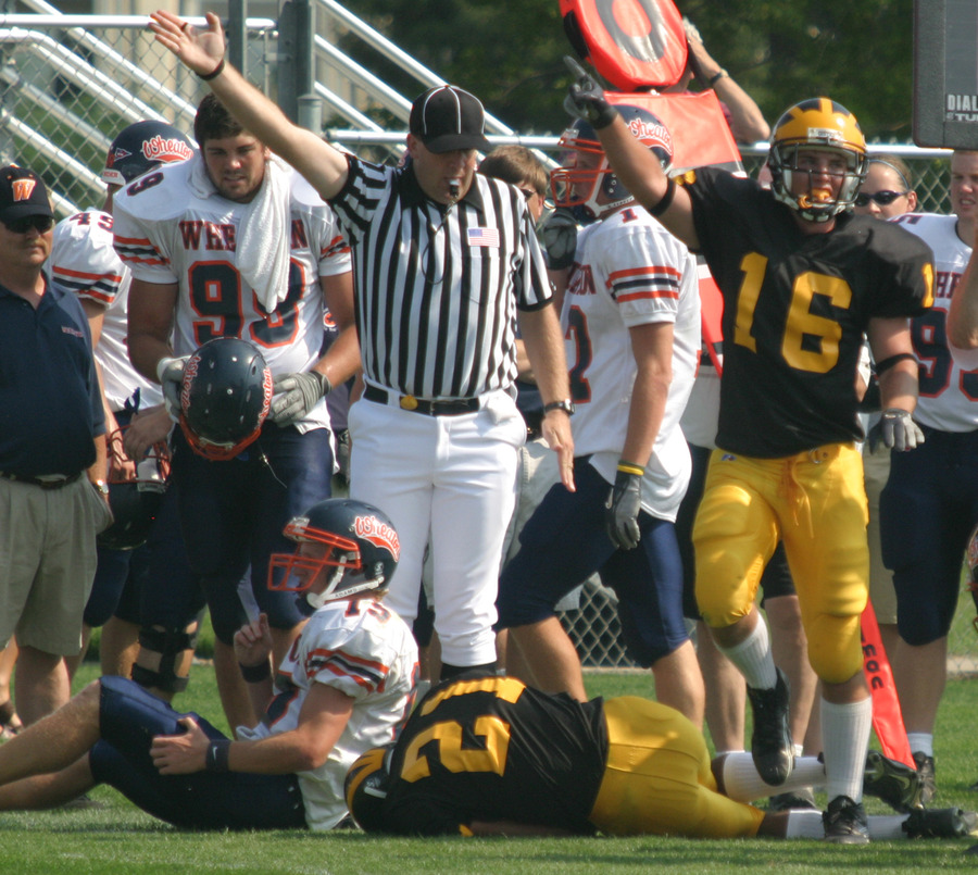Kevin Hegland (#16) celebrates Brian Evans recovering a fumble for the Gusties.