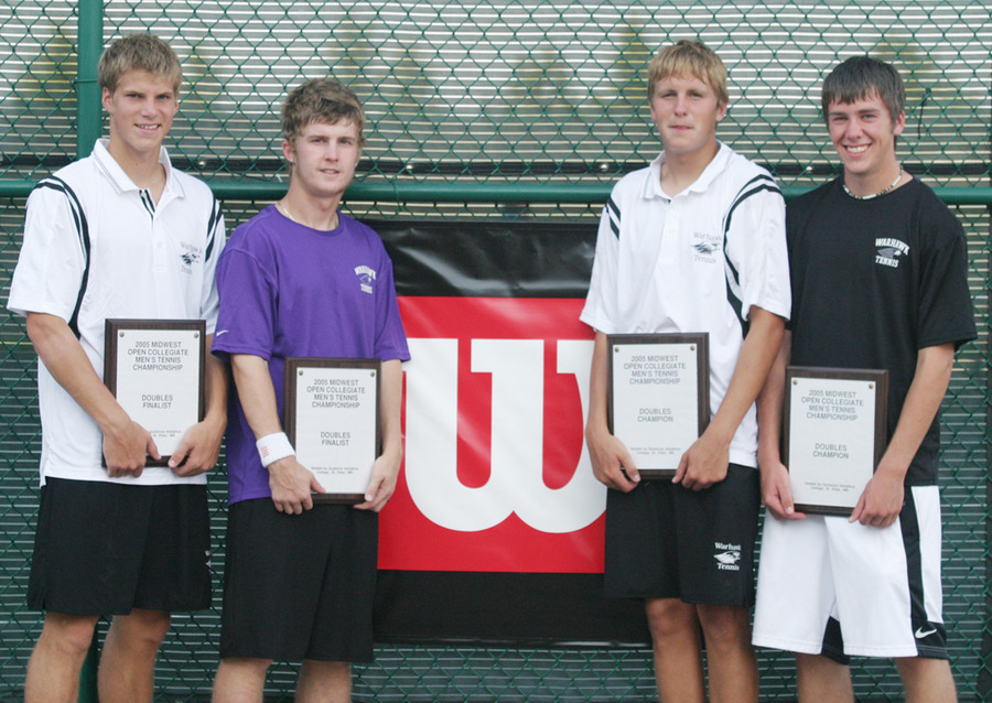 Midwest Open Doubles finalists Johnny Reed & David Stefanik (l) and champions Alex Mory & Erich Palacek, all of UW-Whitewater