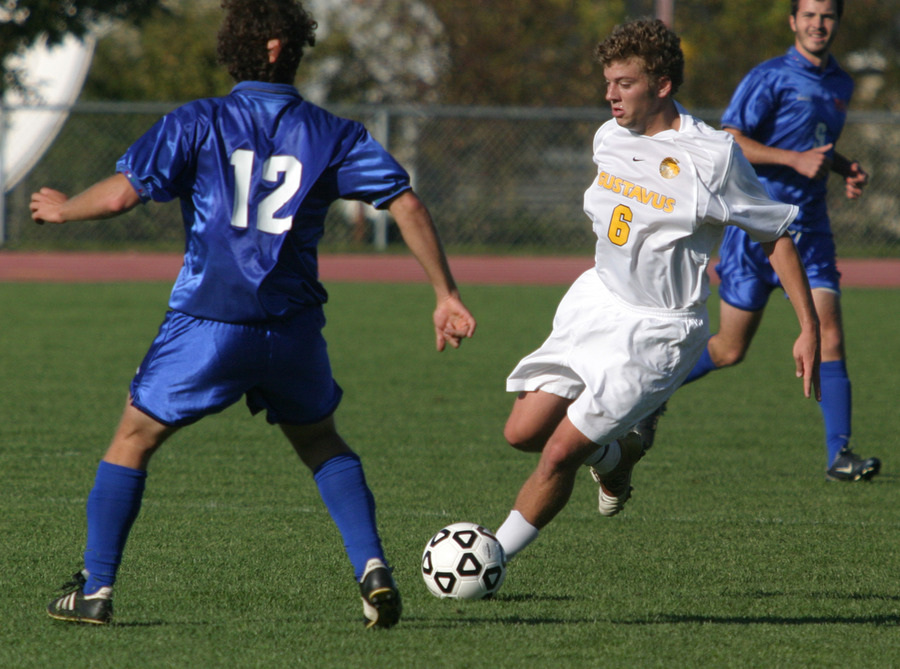 Jeffrey Johnson carries the ball through the midfield for the Gusties.
