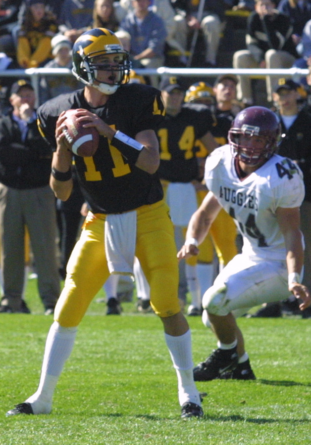 Gustavus quarterback Jordan Stolp threw five touchdown passes on the day.