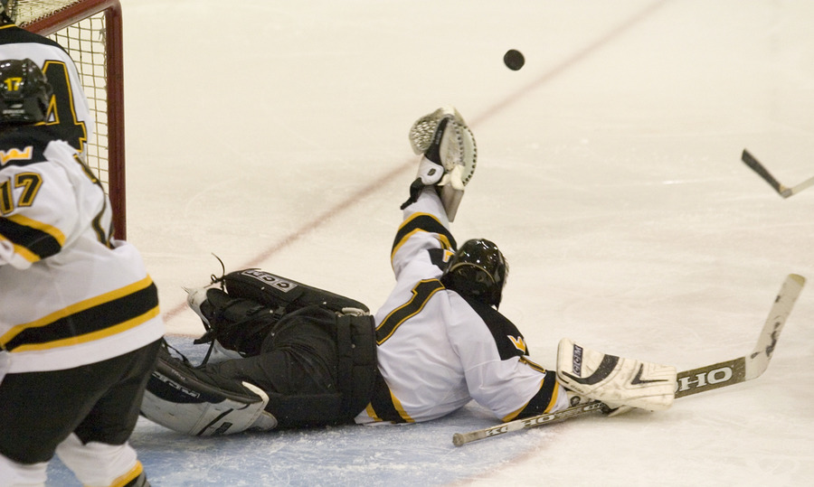 Senior Erik Kraska (1) picked up 32 saves in net for the Gusties.