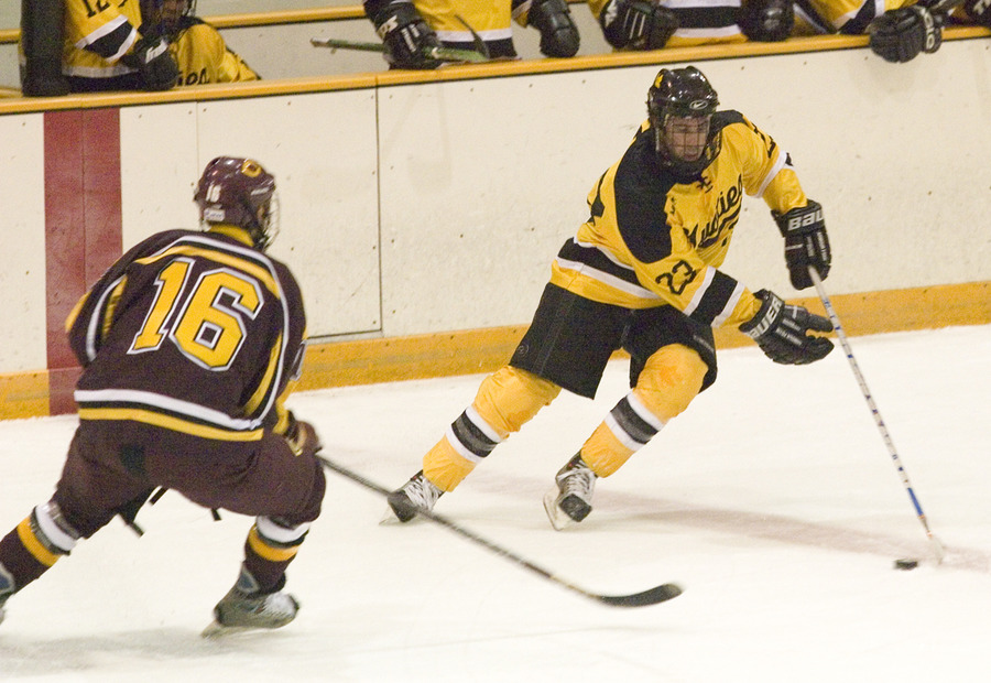 Steve Dusich controls the puck for the Gusties.