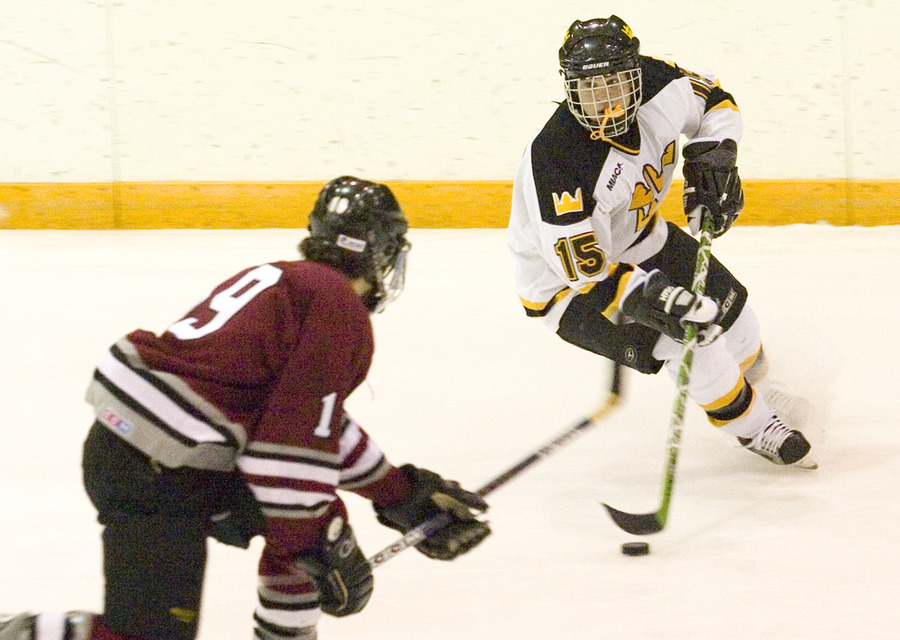 Sophomore Ben Ollila looks for an opening with the puck.