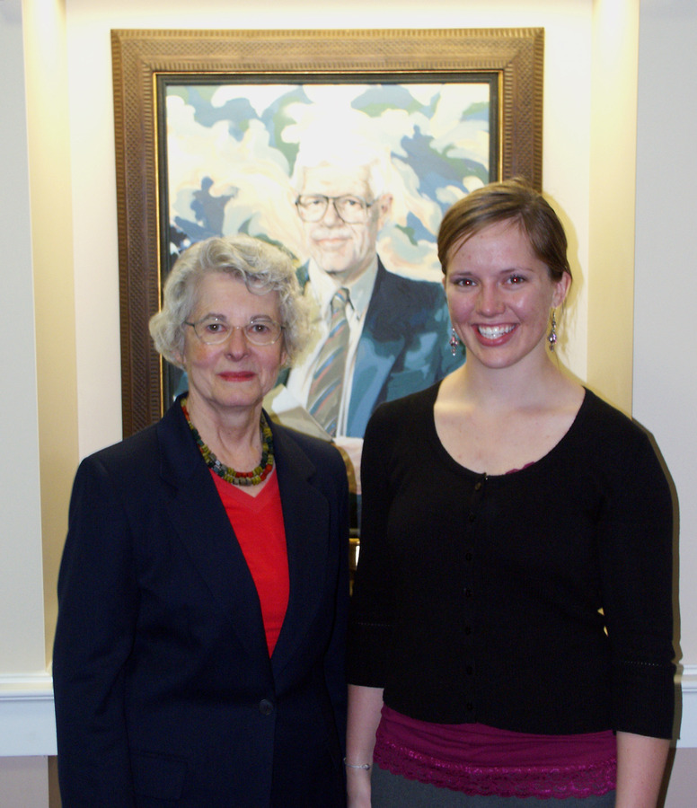 Kathryn Christenson (left) and Lindsey Reimnitz, recipient of the Ronald S. and Rolf S. Christenson Scholarship.