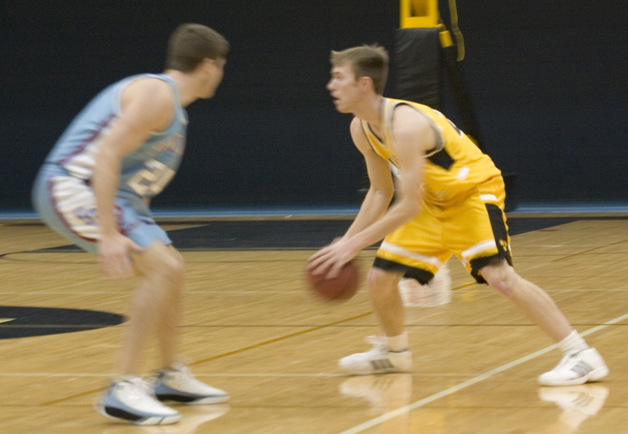 Trent Hollerich handles the ball on the perimeter.