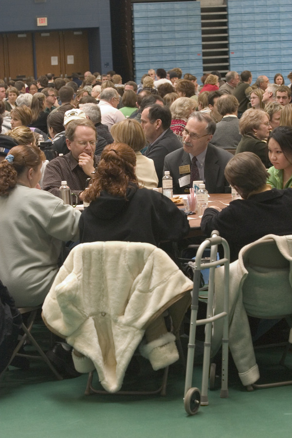 Small groups discussed the future of Gustavus at the 2006 Community Conversation.