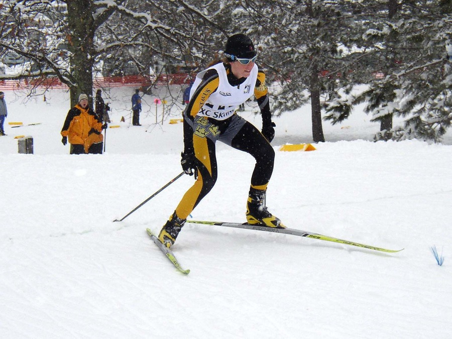 Senior Chandra Daw traverses the course at Telemark Resort near Cable, Wis.