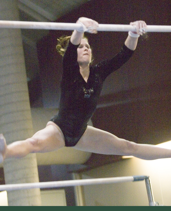 Audrey Schenewerk posted a career best score of 8.8 on the uneven bars.