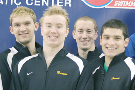 The 800 free relay team of Stewart, Hanson, Pokorski and Cuevas finished 11th at the NCAA Championships.