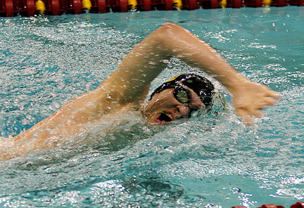 Freshman Matt Stewart swims to a 13th place finish in the 200 freestyle.